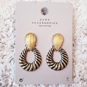 Zara Gold Clip On Statement Earrings Hoop Dangle